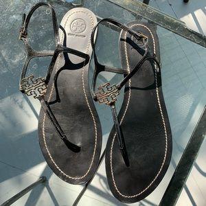 Tory Burch Black Emblem Sandals